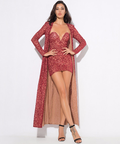Ins Red Models High Quality Top Set Cape Sequined Dress Y Nightclub Party