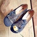 Sapatos de couro genuíno primeira camada de couro nubuck couro laço lateral com mulheres sapatos de saltos baixos casuais macios 8088-3