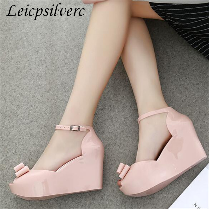 Summer jelly Fish mouth sandals Slope heel woman bow platform open toe high-heeled women shoesSummer jelly Fish mouth sandals Slope heel woman bow platform open toe high-heeled women shoes