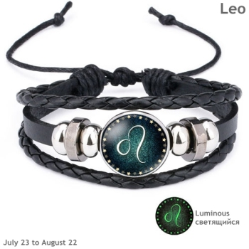 Luminous Signs of the Zodiac Decorated Leather Bracelet Bracelets Jewelry New Arrivals Women Jewelry Metal Color: Leo