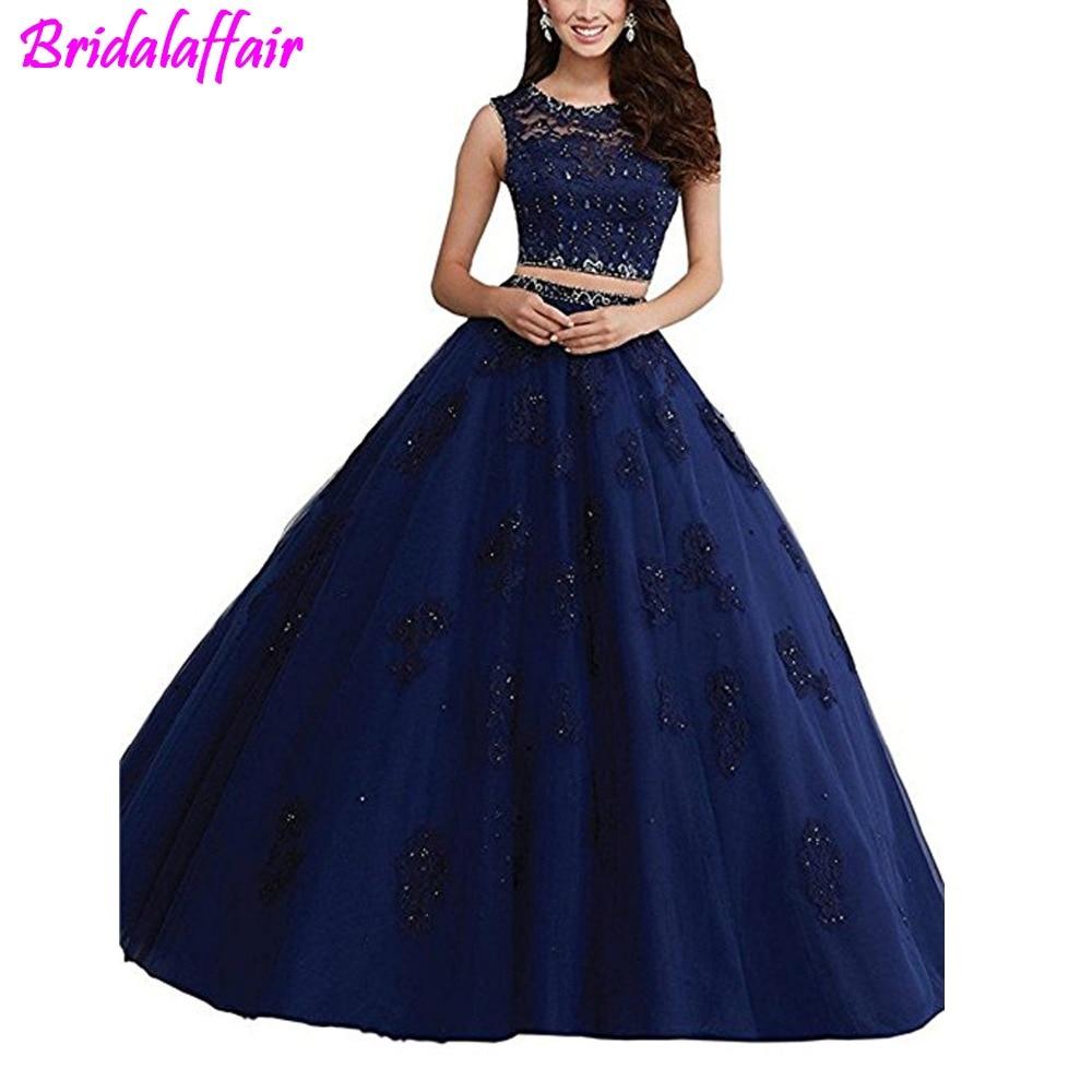 Women's Long Lace vestido 15 anos Prom Dress Two Piece Ball Gown vestido debutante Rhinestones Quinceanera Dresses dulces