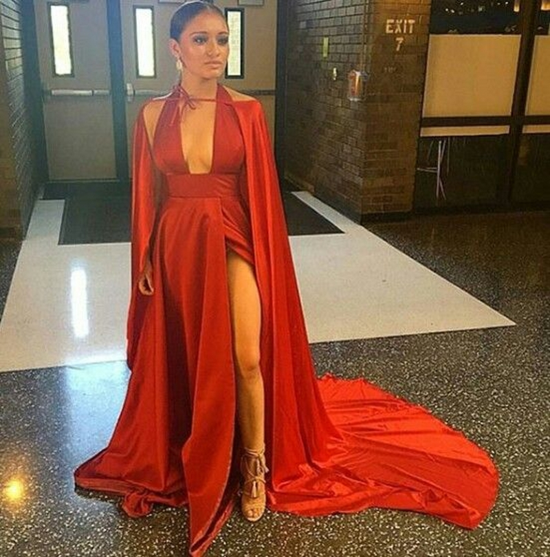 Sexy Deep V Neck Red Mermaid Prom Dresses With Cape Coat