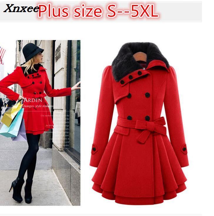 9bb5de6492e Women Wool Blend Trench Overcoat Winter Turn-down Collar Long Sleeve Peacoat  Double Breasted Slim Fit Outwear Plus Size 5XL