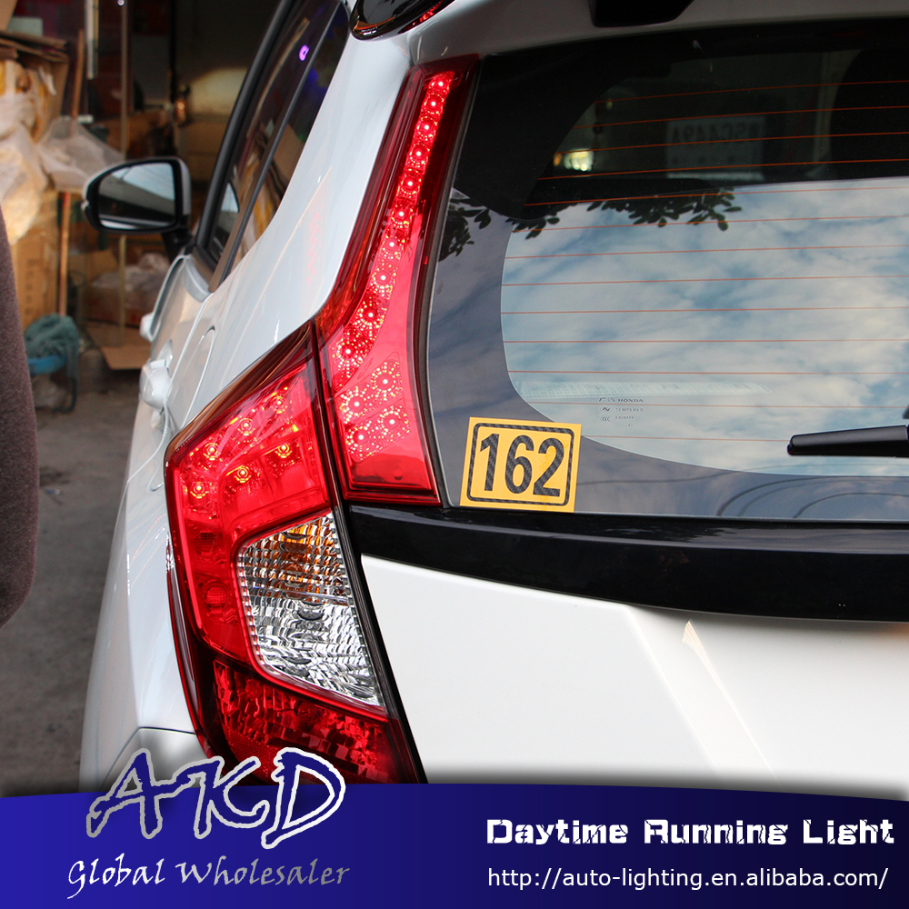 где купить Car Styling for Honda Jazz fit 2014-2016 Pillar Light for New JAZZ rear bumper light DRL brake lamp +Rear Bumpe Reflector по лучшей цене