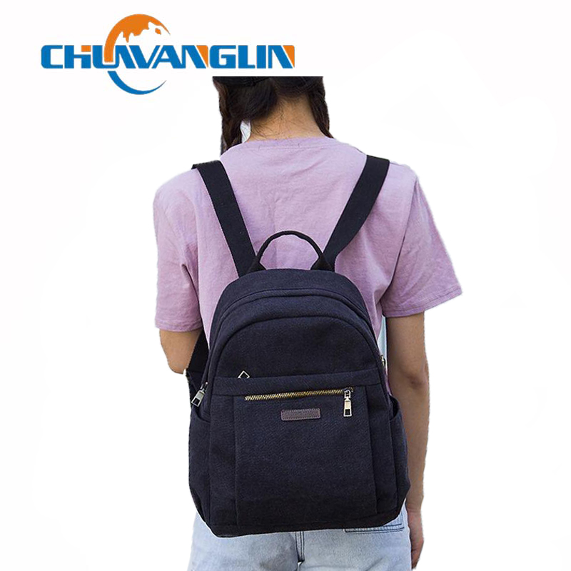 Chuwanglin Vintage Women's Backpack Casual Canvas Backpacks Fashion Preppy Style School Bags Simple Travel Laptop Bag S6026