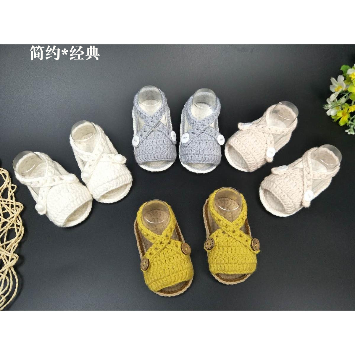 Hand Knitted Baby Wool Sandals, 0-1 Year Olds, Buckles, Soft Floor Shoes, Newborn Floor Socks Summer.