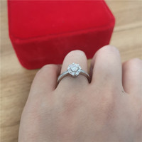 18k white gold Ring with 4mm round shape moissanite stone for Women Party Jewelry