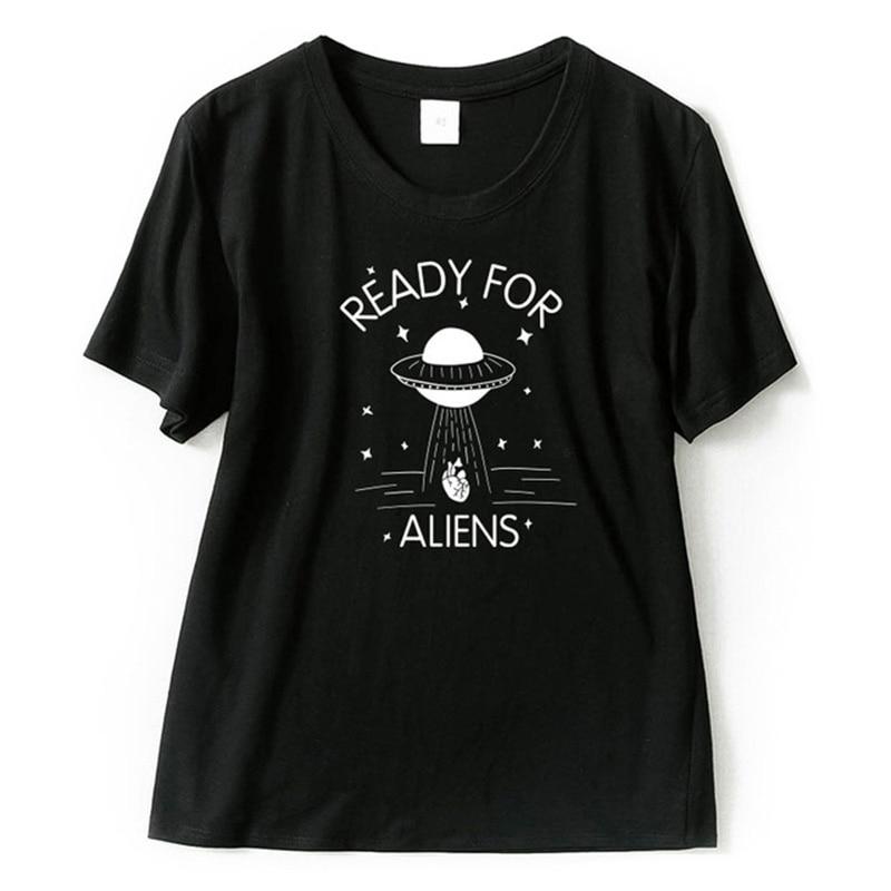 Alien T-shirt Funny Women Summer Novelty Print O-Neck Short Sleeve Tops Tee Femme 100% Cotton Funny Girls Ufo Tshirt