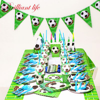 New 140pcs/lot Green Football Theme Festival Boys Favor Birthday Party Paper Cup Plate Straw Event Party Blowout Gift Bag Supply