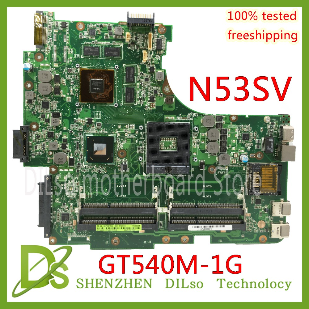 KEFU N53SV mainboard For ASUS N53S N53SV N53SN N53SM laptop motherboard GT540M 1G video memory Test work 100% original n53s n53sv n53sn n53sm for asus motherboard n53sv mainboard gt540 n12p gs a1 4 ram solts tested ok