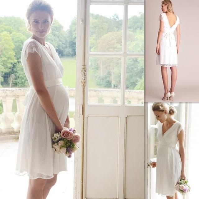 2016 Short Maternity Wedding Dress For Pregnant Women Plus Size ...