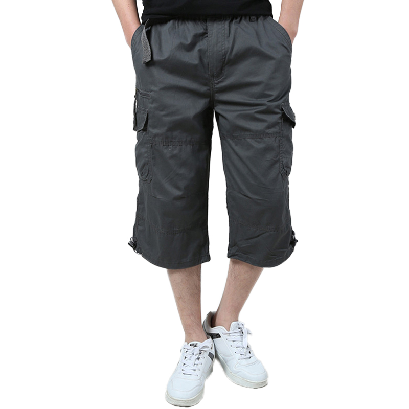 Summer Mens Baggy Multi Pocket Military Cargo Shorts Plus Size breeches Male Long Army Green Khaki Mens large size Short