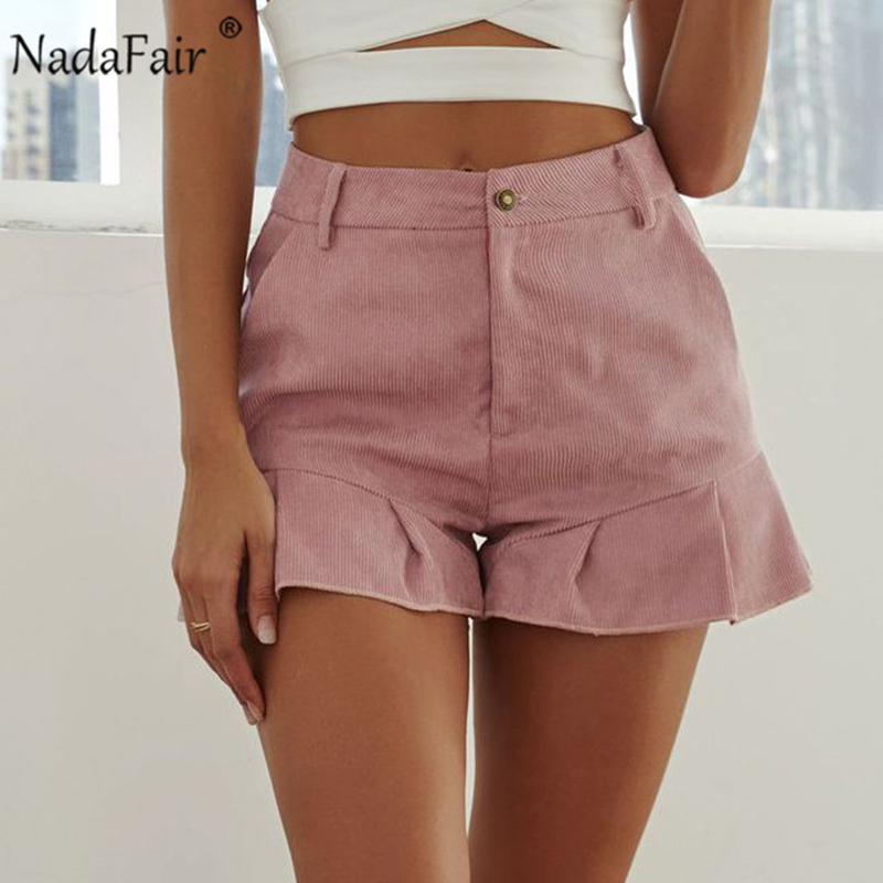 Nadafair Corduroy Ruffles Casual Summer High Waist   Shorts   Women Packages Plus Size   Short   Pants Pink