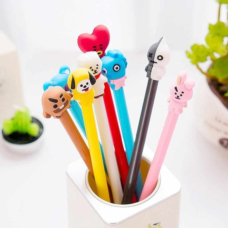 1PC 8 Style Cute Cartoon Head Creative Gel Pen Student Stationery Novelty Gift School Material Office Supplies Ballpoint Pen