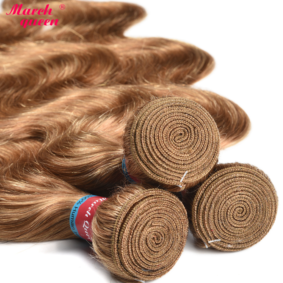 Image 3 - March Queen Honey Blonde Indian Human Hair Bundles With Closure #27 Body Wave 3 Bundles With Lace Closure Raw Indian Hair Weft-in 3/4 Bundles with Closure from Hair Extensions & Wigs