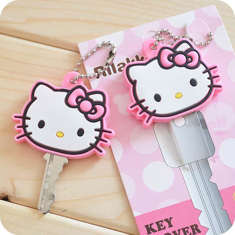 5 Stks Leuke Dieren Kitty Silicon Key Caps Covers Sleutels Keychain Case Shell Baby Shower Kids Party Favor Gift Heilzaam Voor Het Sperma