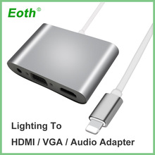 For Lightning to HDMI VGA Jack Audio TV Adapter Converter compatible for iPhone X,for iPhone 8 7 7 Plus 6 6S For iPad Series YH2
