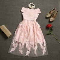 [Alphalmoda] Women Summer Beautiful Party Dress Bandage Corset Top 3D Perspecitve Gauze Ladies Princess Vestidos