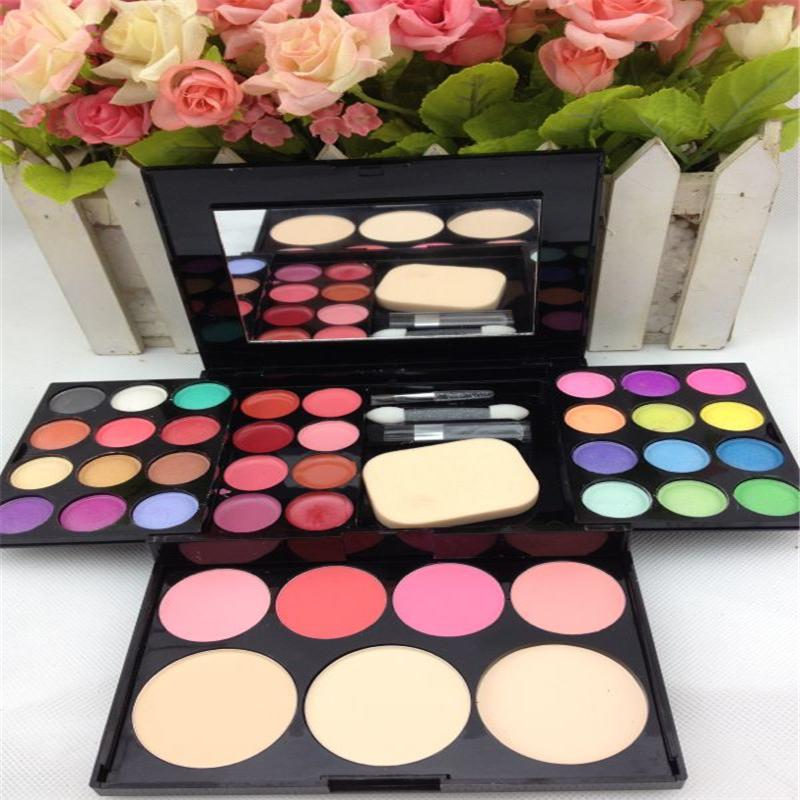 Pro 24 Color Makeup Eyeshadow Palette Blush Lip Gloss Shading Powder Brush Kit Health & Beauty Accessories