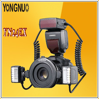 YONGNUO YN24EX E TTL Radio Sync Automatic Macro Ring Lite Flash Speedlite for Canon Cameras camorder with Dual 2pcs Flash Head