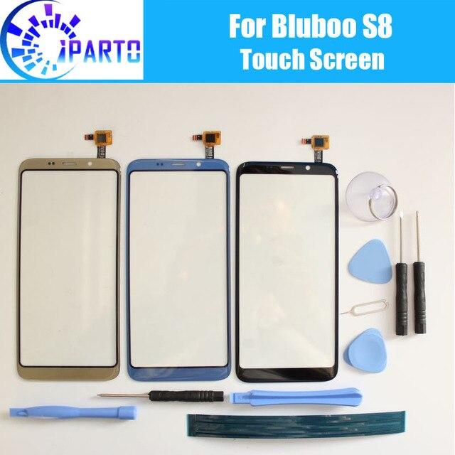 Bluboo S8 Touch Screen Panel 100% Garantie Nieuwe Originele Glas Panel Touch Screen Glas Voor Bluboo S8 + Tool lijm