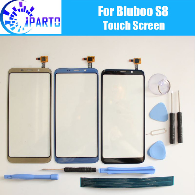Panel dotykowy Bluboo S8 100% gwarancji nowy oryginalny szklany Panel ekran dotykowy szkło dla Bluboo S8 + narzędzie + klej