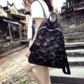 Waterproof nylon mesh fabric with Leather Shoulder Bag  camouflage backpack bag, Korean fashion wind