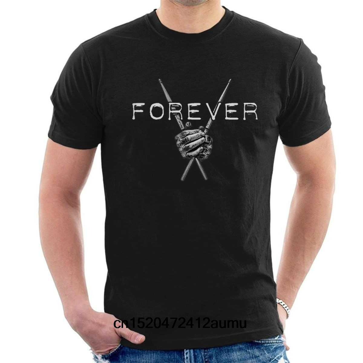 Fashion Man Drums Forever T-shirt Drummers Tee Paiste Zildjian Tama Pearl Sabian A04 Casual T Shirt Printed Tops