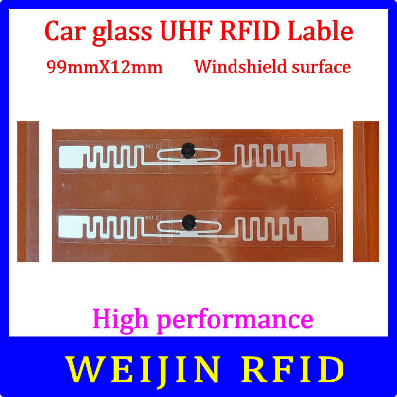 Car glass 9912 UHF RFID Tag 99mm*12mm lable Impinj Monza 4QT chip,can be used for  Windshield surface 50pcs 74 21mm rfid gen2 uhf paper tag with alien h3 chip used for warehouse management