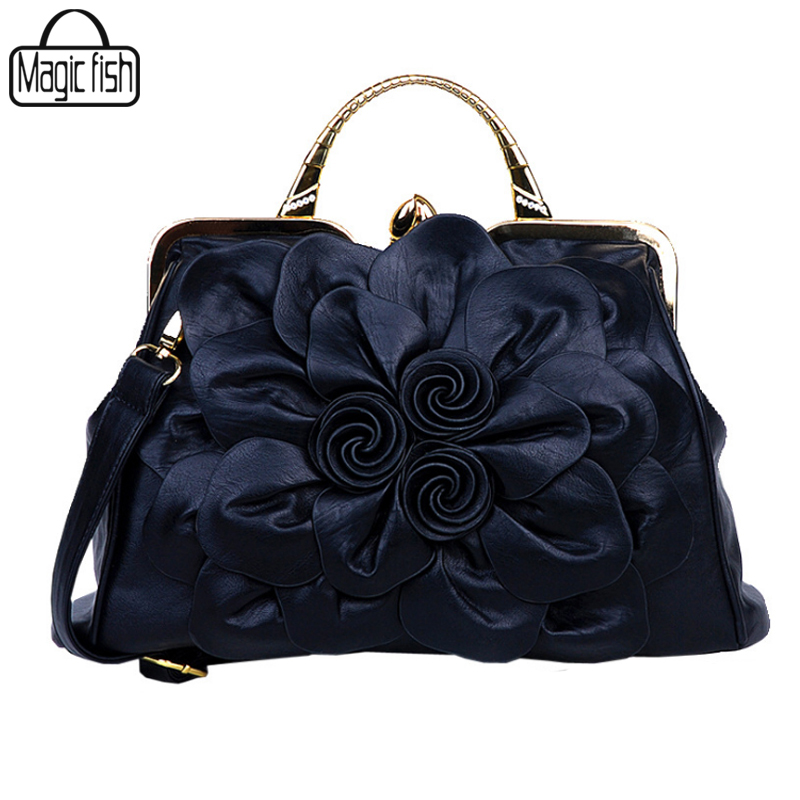 New Fashion Big Flower Women Handbag Famous Brands Design Female Tote Luxury Wom