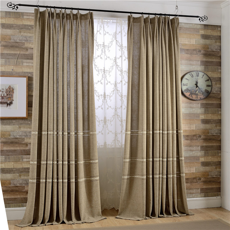Natural Brief Style Cotton And Linen Blockout Cloth Curtain Yarn Dyed Thick Curtain For Living