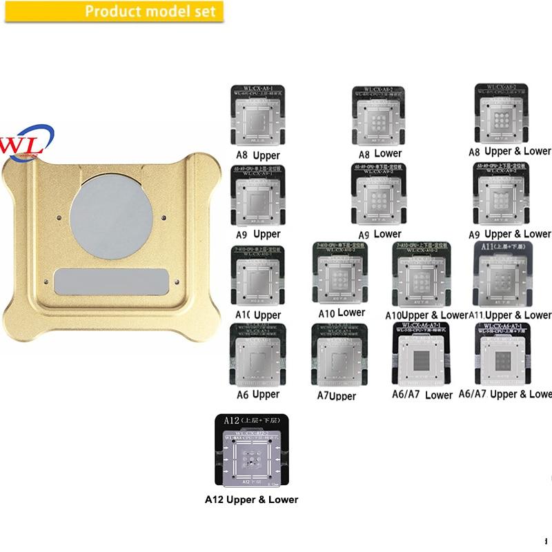 WL for iPhone A6 A7 A8 A9 A10ベースバンドCPU NAND BGA Reballing Tin Net Stencils With Magnetic Base Positioning Fixtureアイホンwl 11