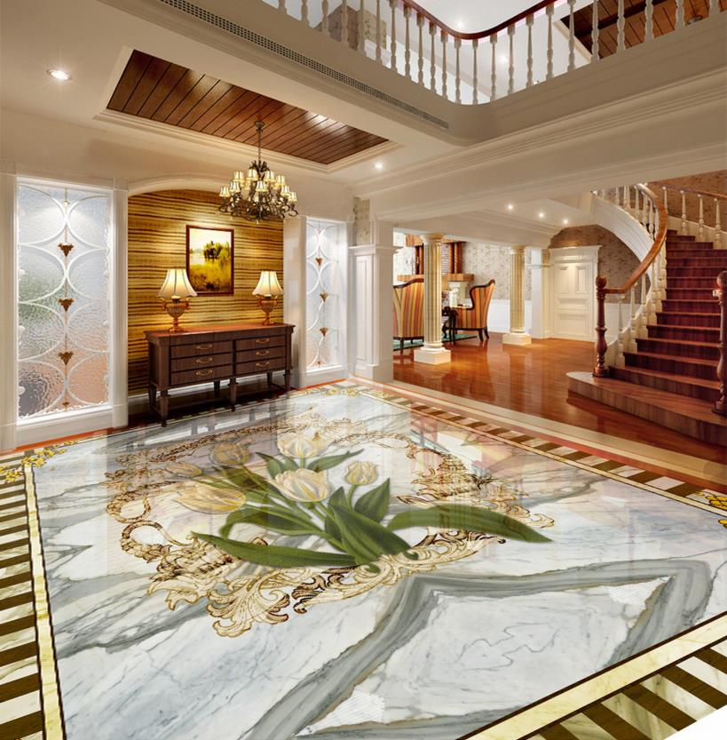 Custom 3d floor vinyl marble wallpaper 3d stereoscopic floor wallpaper photo tulip waterproof self adhesive 3d pvc floor 3d floor abstract spiral staircase wallpaper custom laminate flooring waterproof self adhesive waterproof 3d floor vinyl