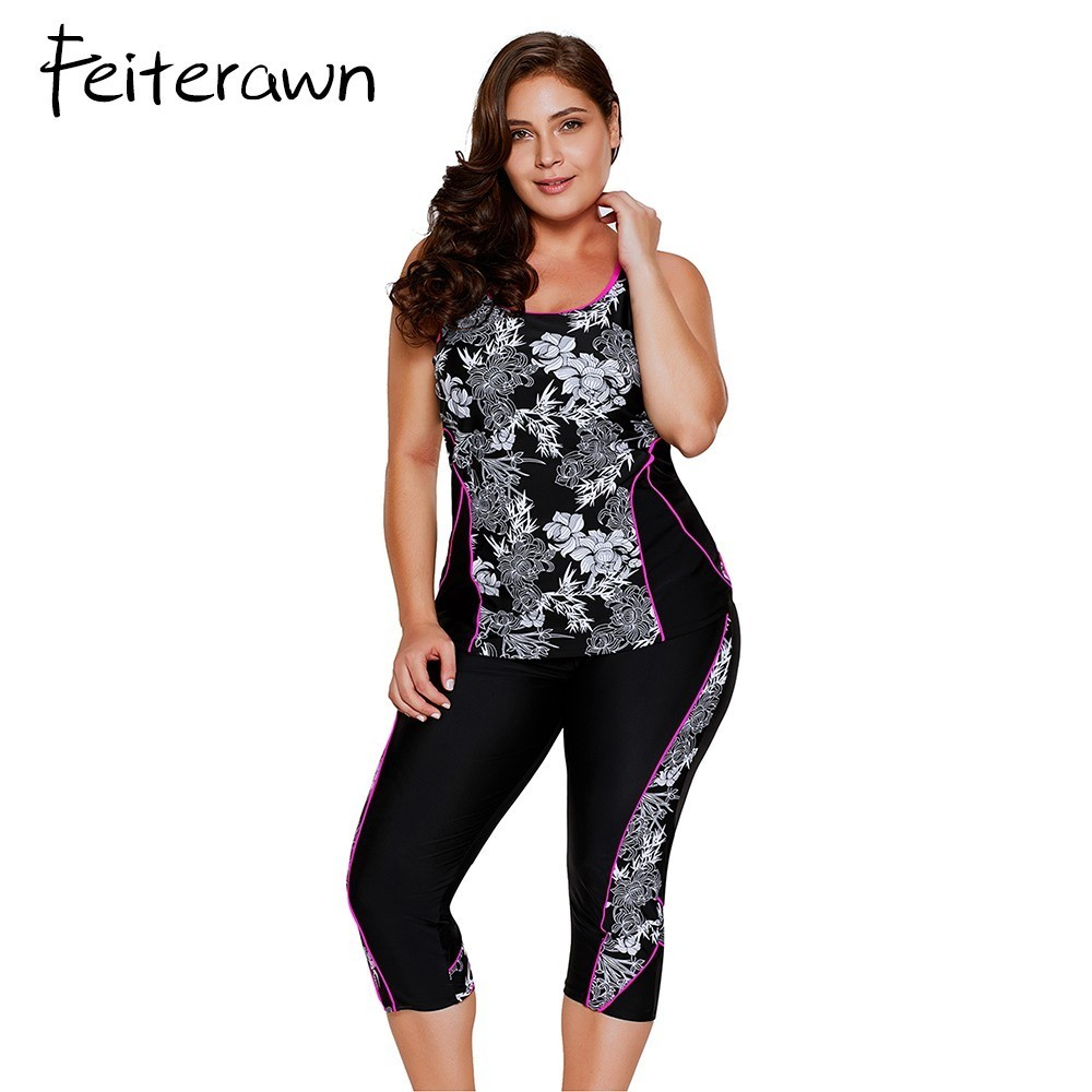 d1bd3aba82fa9 Feiterawn Plus Size Swimwear Women Print Tankini Top And Sport cropped Pants  Fitness Two Piece Beach Wear Bathing Suits-in Body Suits from Sports ...
