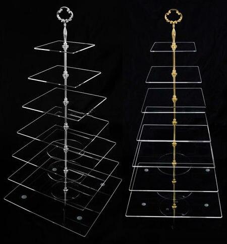 Support de gâteau carré en cristal acrylique clair de 7 niveaux support de Cupcake à plusieurs niveaux sans Fedex