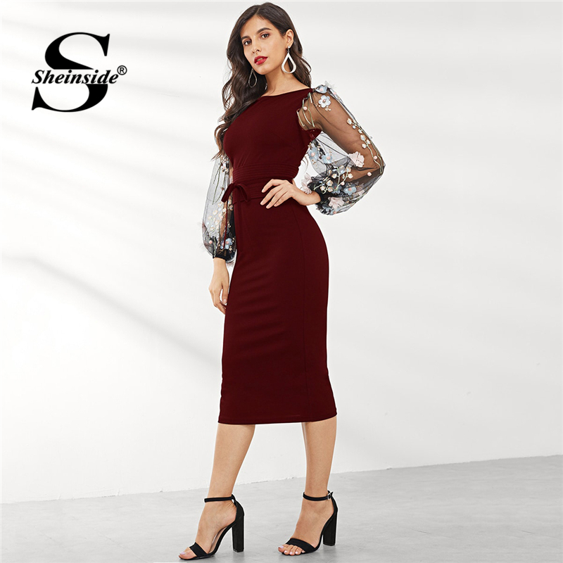 Sheinside Applique Embroidered Mesh Sleeve Pencil Dress Burgundy Midi Dresses For Women 2019 Spring Jacquard Bodycon Dress
