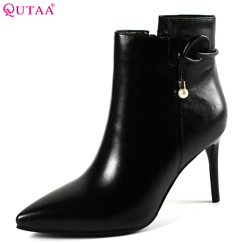 цена QUTAA 2019 Women Shoes Thin High Heel Women Ankle Boots Platform Zipper Pointed Toe Elegant Black Women Boots Size 34-43