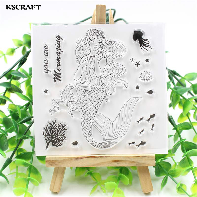 KSCRAFT Beauty Mermaid Transparent Clear Silicone Stamp/Seal for DIY scrapbooking/photo album Decorative clear stamp sheets kscraft love travelling transparent clear silicone stamp seal for diy scrapbooking photo album decorative clear stamp sheets