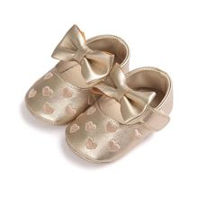 Newborn Babies Shoes Soft Bottom PU Leather Big Bow Embroidery Love So
