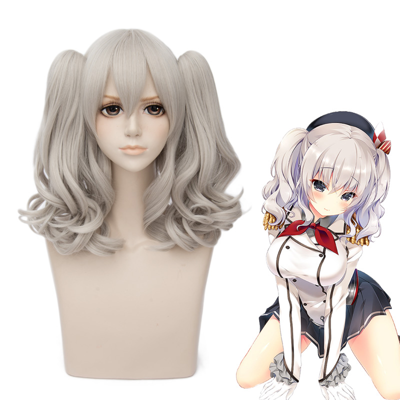 Anime Kantai Collection Kashima Cosplay Wig Kashima Wigs With Chip Removable Ponytails + Wig Cap