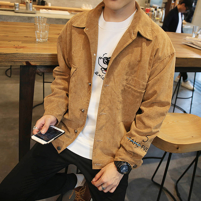 Spring Fashion Denim jacket men outerwear solid Turn-down Collar casual coat male Loose clothing corduroy jackets khaki size 4XL