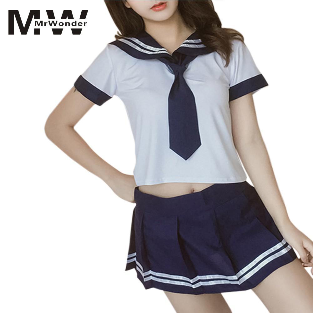 mrwonder School Uniform Sexy Costumes School Girl Women Sexy Lingerie School Skirt Sets Adult Sex Skirt TopsTies Cosplay SAN0