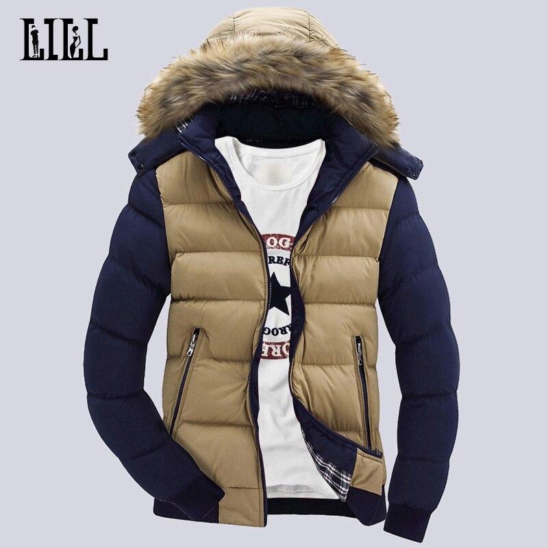 9 Färg Mode Märke Vinter Mäns Down Jacket Med Fur Hood Hatt Slim - Herrkläder - Foto 2