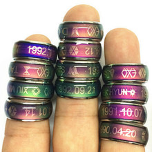 Factory dirct Wholesale Mood Ring Stainless Steel Rings child safety christmas Gifts mood ring color present kid birthday