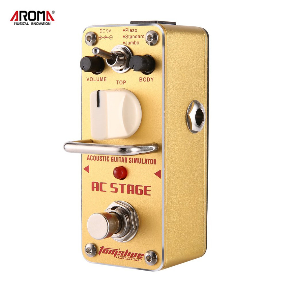 AROMA AAS-3 AC Stage Acoustic Guitar Effect Pedal Simulator Mini Single Electric Guitar Effect Pedal with True Bypass aroma agr 3 greenizer vintage overdriver electric mini singer guitar effect pedal true bypass