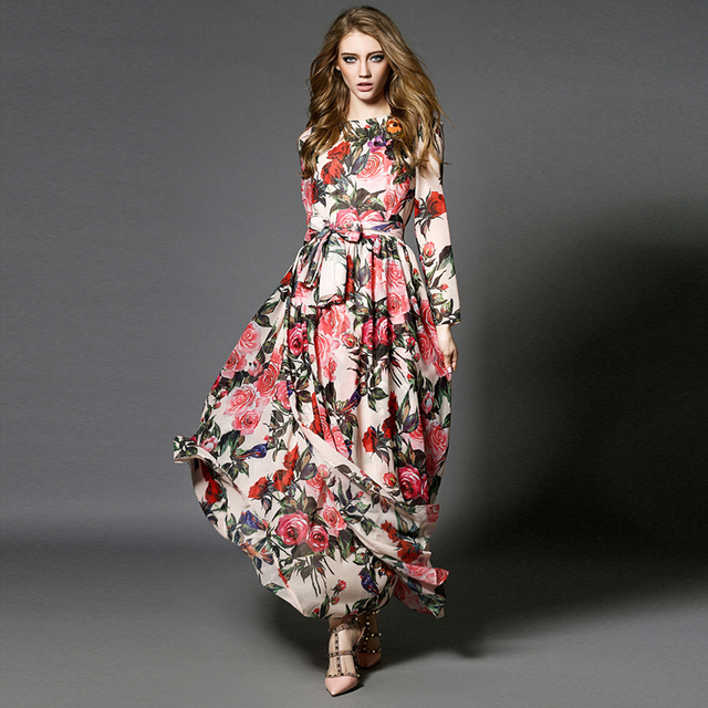 Hot Newest 2018 Italy Spring Summer Ankle Length Dress Silk Printed Flower Rose Colourful Sequins