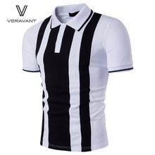 Men'S POLO Shirt New Short-Sleeved Turn-Down Collar Slim Fit Polo Casual POLO Shirt Vertical Stripes Men'S Tops