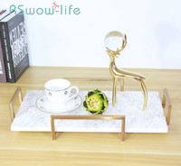 Marble Pattern Metal Tray Home Decoration Cosmetics Decoration Trays Food Tray Serving Trays For Storage Supplies