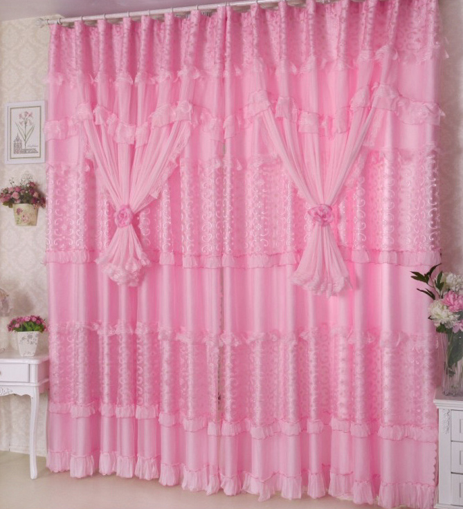 On Sale! Ready made curtains+shade head+tulle two panel curtains - Home Textile