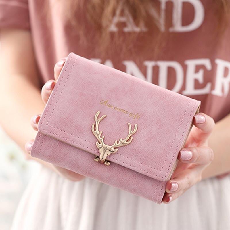 1pc Women Pu Leather  Wallet Vintagetri-folds Luxury Cash Purse  Fashionable Sanded Deer Handbag